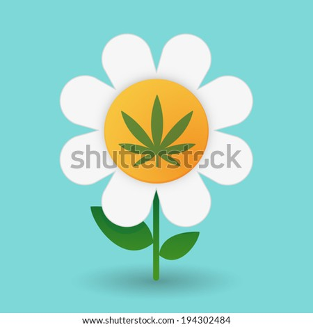 Illustration of a daisy on a blue background - stock vector
