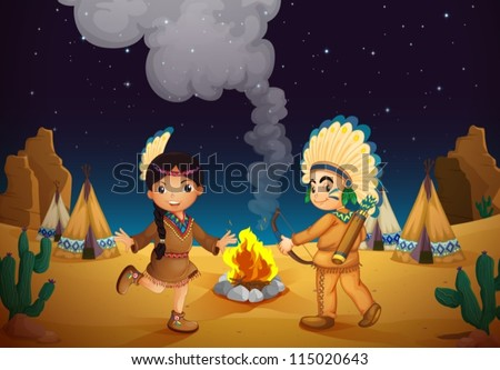 illustration of a dancing boy and girl in night sky