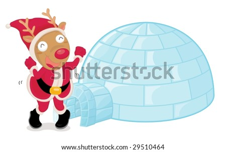 illustration of a dancing christmas reindeer