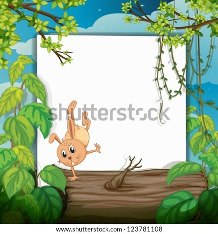 Illustration of a dancing rabbit and a white board in a beautiful nature