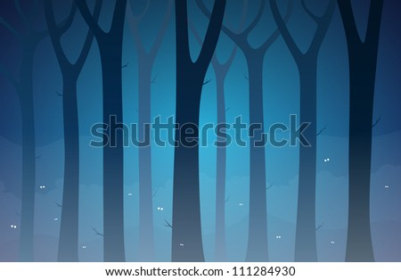 Illustration of a dark forest full of unknown creatures.