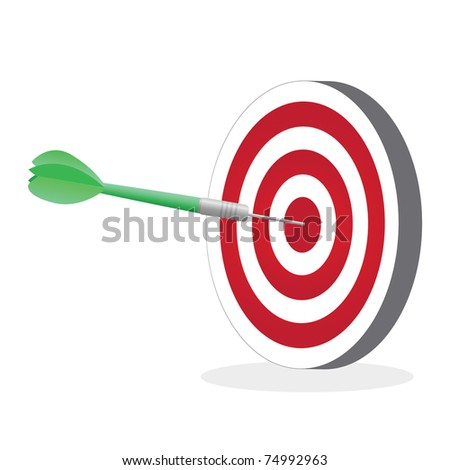 Illustration of a dart hitting a target isolated on a white background.