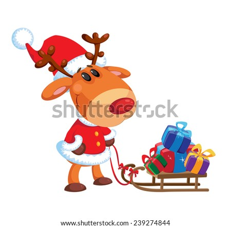 illustration of a deer and sledge - stock vector