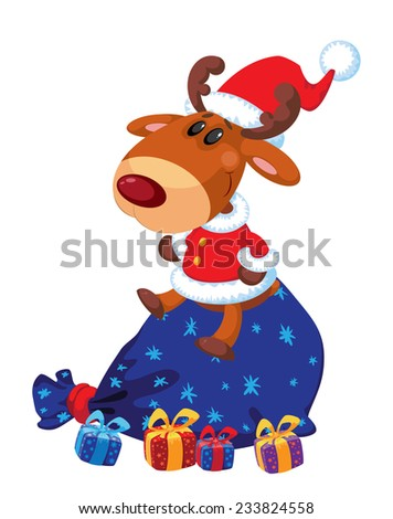 illustration of a deer Santa with bag and gifts - stock vector