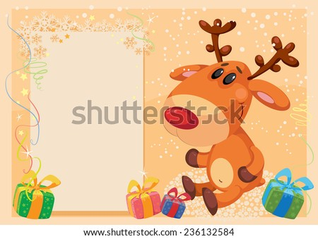 illustration of a deer with banner card - stock vector