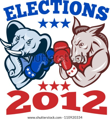 Illustration of a democrat donkey mascot of the democratic and republican elephant boxer boxing with gloves set inside circle done in retro style with words elections 2012 - stock vector