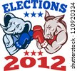 Illustration of a democrat donkey mascot of the democratic grand old party gop and republican elephant boxer boxing with gloves set inside circle done in retro style with words elections 2012 - stock photo