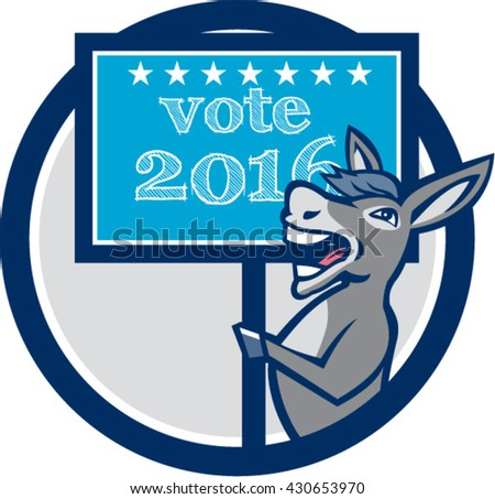 Illustration of a democrat donkey mascot of the democratic grand old party gop smiling holding a sign placard with Vote 2016 and stars set inside circle done in cartoon style.  - stock vector