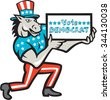 Illustration of a democrat donkey mascot of the democratic grand old party gop wearing American stars and stripes flag clothes and hat presenting holding Vote Democrat sign done in cartoon style. - stock photo