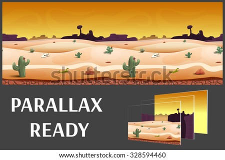 Illustration of a desert evening landscape ,with herbs, mountains and sky, vector unending background with separated layers for game.    - stock vector