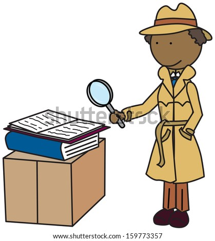 Illustration of a detective looking through a magnifying glass