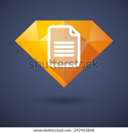 Illustration of a diamond icon with a document - stock vector