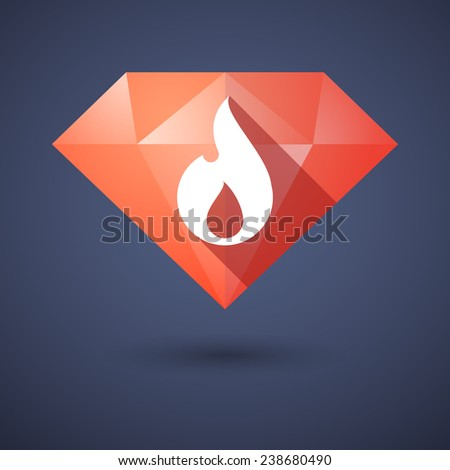 Illustration of a diamond icon with a flame - stock vector