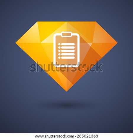 Illustration of a diamond icon with a report - stock vector