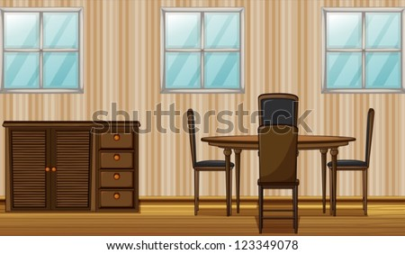Illustration of a dinning table and wardrobe in a room - stock vector