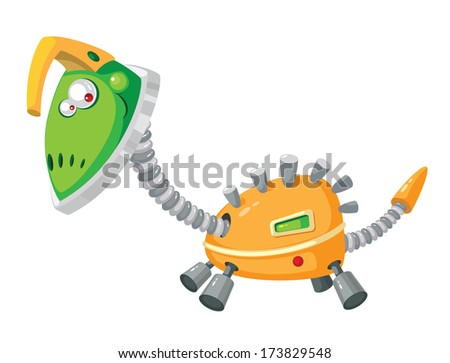 illustration of a dinorobot mechanical - stock vector