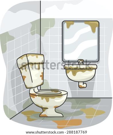 illustration dirty toilet covered grime stock vector 288187769 shutterstock. Black Bedroom Furniture Sets. Home Design Ideas