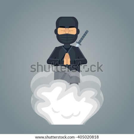 Illustration of a disappearing ninja - stock vector