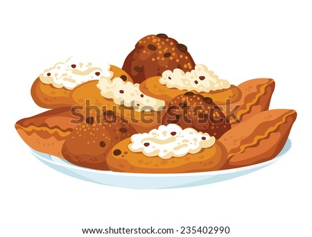 illustration of a dish with pastry - stock vector