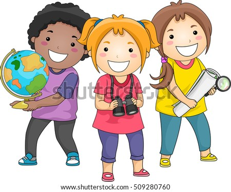 Illustration of a Diverse Group of Preschool Kids Carrying a Globe, a Map, and a Pair of Binoculars