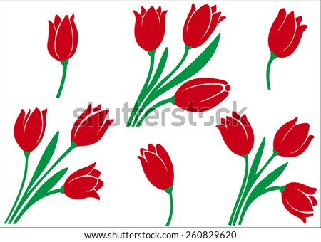 Illustration of a diverse set of tulips on a white background - stock vector