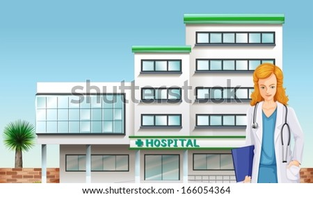 Illustration of a doctor in front of the hospital building - stock vector