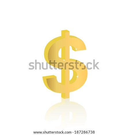 Illustration of a dollar sign isolated on a white background.