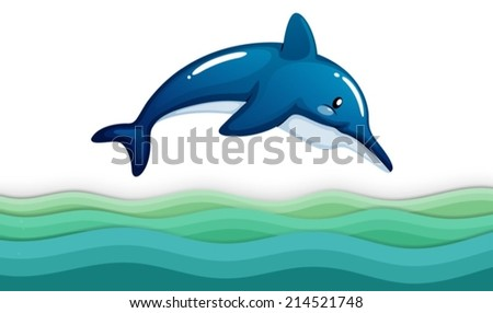 Illustration of a dolphin in the ocean on a white background