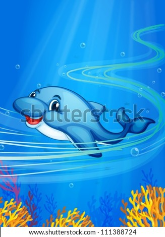 Illustration of a dolphin swimming