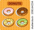 Illustration of a Donut Character Giving a Thumbs Up. Tasty donut - cartoon vector. Set of four donuts. Cartoon. - stock vector