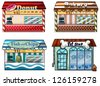 Illustration of a donut store, bakery, fish and chips store and a pet shop on a white background - stock vector