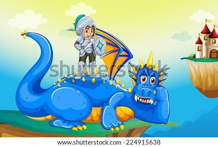 Illustration of a dragon and a knight - stock vector