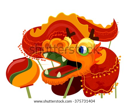 Illustration of a Dragon Dance Costume for Chinese New Year - stock vector