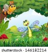 Illustration of a dragonfly and a bee at the forest - stock vector