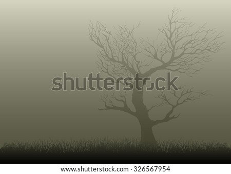 Illustration of a dried tree in misty night