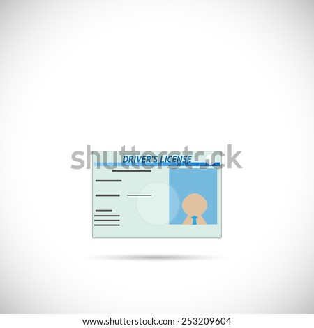 Illustration of a driver's license isolated on a white background. - stock vector