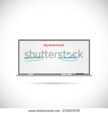 Illustration of a dry erase whiteboard isolated on a white background. - stock vector