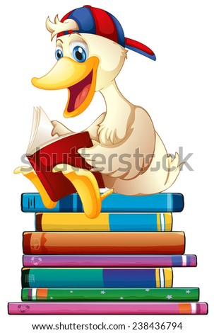 Illustration of a duck reading books - stock vector