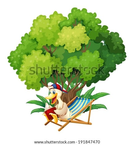 Illustration of a duck reading under the tree on a white background - stock vector