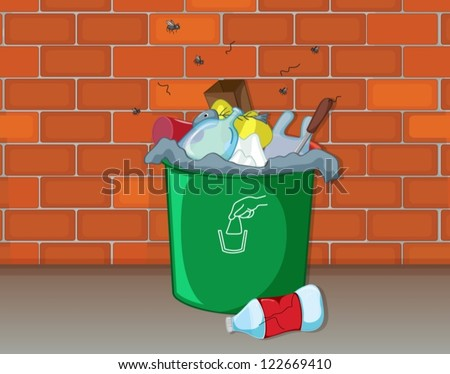 Illustration of a dustbin in front of a wall - stock vector