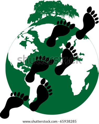 illustration of a ecological footprint of mankind on the planet