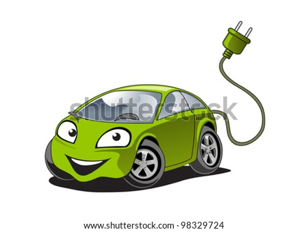 illustration of a electric car character - stock vector