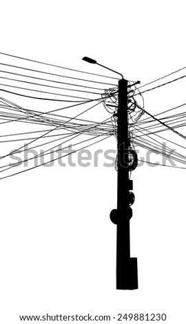 illustration of a electricity pole isolated - stock vector