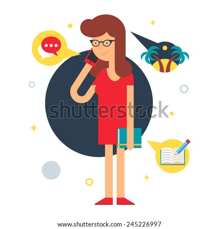 Illustration of a employee talking on the phone , flat style