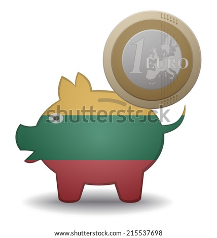 illustration of a euro coin going into a piggy bank with the flag of Lithuania - stock vector