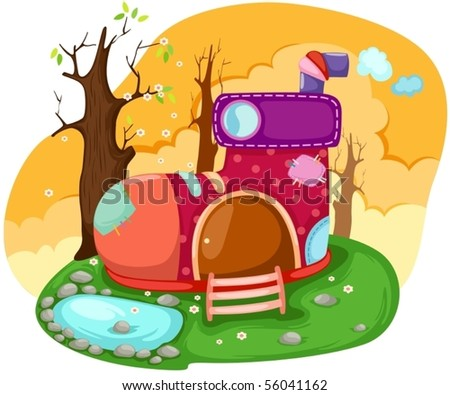 illustration of a fairy tale shoe house - stock vector