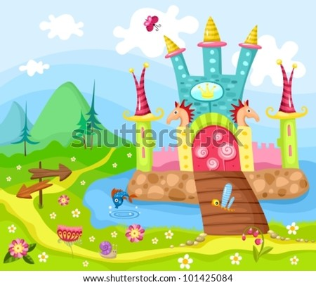 illustration of a fairytale castle - stock vector