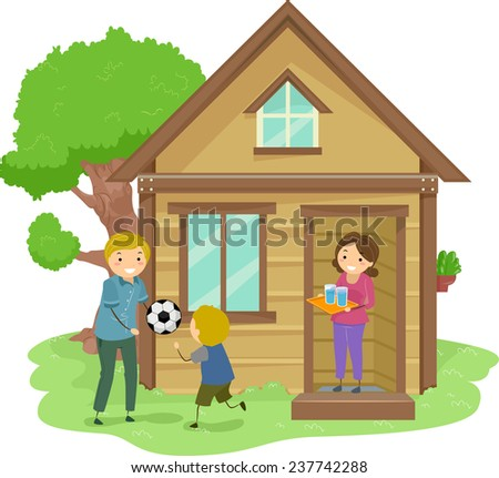 Illustration of a Family Bonding Together in the Front Yard of Their Tiny House - stock vector