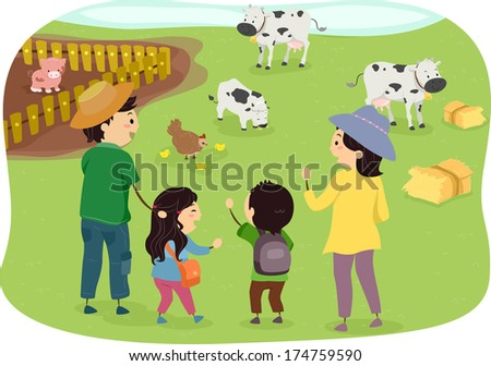 Illustration of a Family Enjoying a Day in the Farm - stock vector