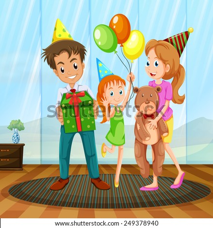Illustration of a family having a birthday party - stock vector